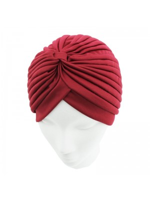 Jersey Turban Hat In Maroon Colour