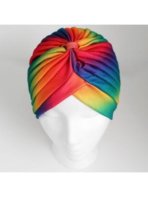 Jersey Turban Hat In Rainbow Print