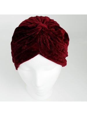 Velvet Turban Hat In Burgundy Colour