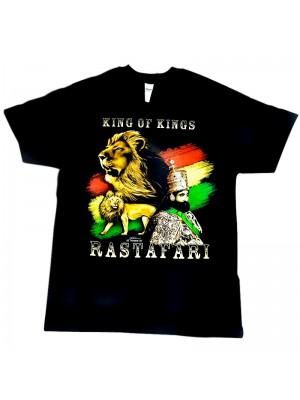 """King of Kings"" Rastafari Design Black Cotton T-Shirt"