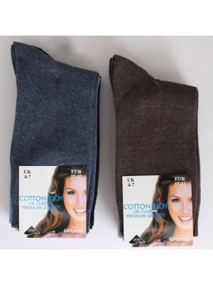 Ladies Cotton Rich Classic Socks, Assorted Colours