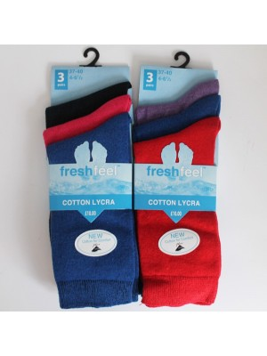 Ladies Fresh Feel Cotton Lycra Ankle Socks-Assorted Colours