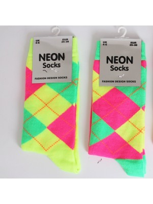 Ladies Neon Argyle Pattern Socks (Assorted Colours)