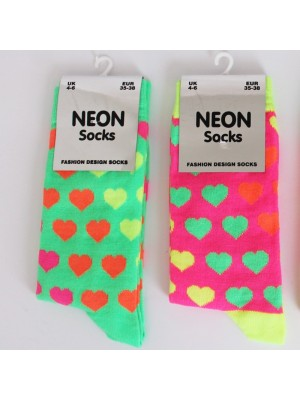 Ladies Neon Heart Pattern Socks (Assorted Colours)