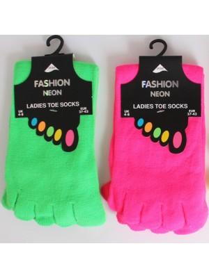 Ladies Neon Toe Socks- Plain