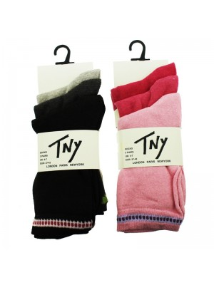 Ladies TNY Socks With Assorted Colours Border