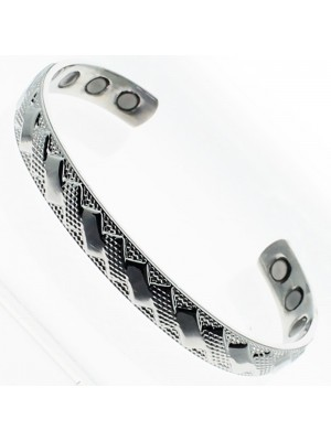 Magnetic Bangle - Silver Design (Medium)