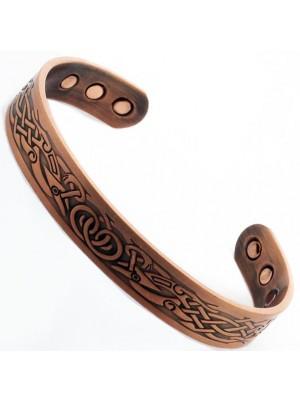 Magnetic Copper Bangle - Phoenix Design - Large Size