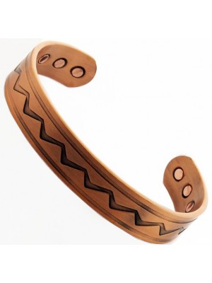 Magnetic Copper Bangle - ZigZag Design - Medium Size