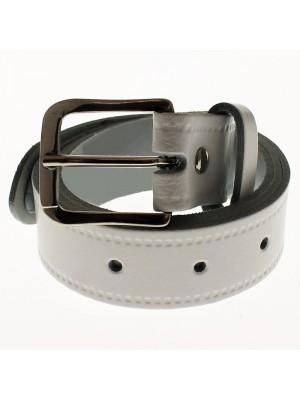 "Men's Leather Belts 1.25"" Wide - White"