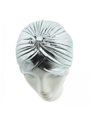 Metallic Look Turban In Silver Colour