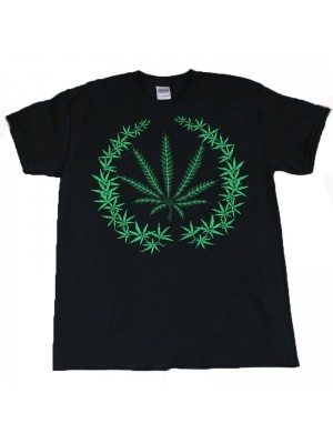 Multi Cannabis Leaf Design Black Cotton T-Shirt