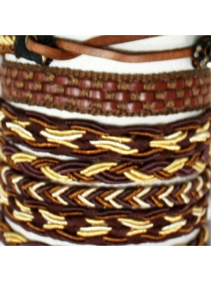 Friendship Leather Bracelet On The Roll Entwined Assorted Brown