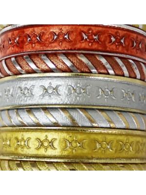 Friendship Leather Bracelet Metallic Assorted On Display Roll