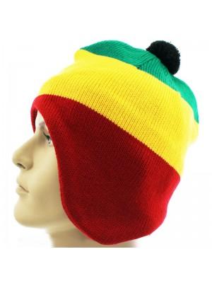 Rasta Design Knitted Bobble Hat