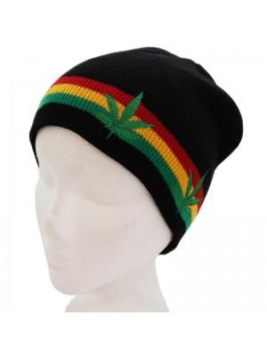 Mens Rasta Design Beanie Hat - Cannabis Print