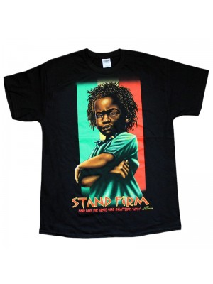 """Stand Firm"" Design Black Cotton T-Shirt"