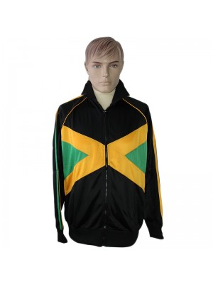 Unisex Jamaican Flag Tracksuit Set Collared Top Elasticated Waist Trouser