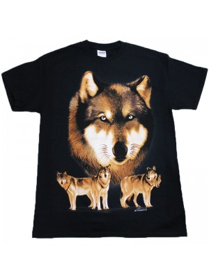 Wolf Pack Black Cotton T-Shirt