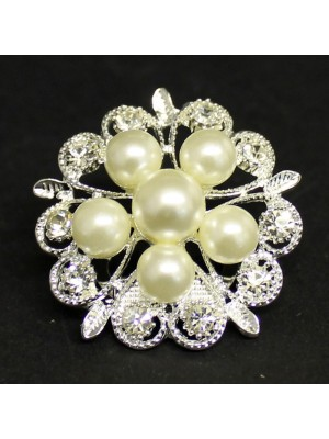 Diamante And Pearl Flower Brooch
