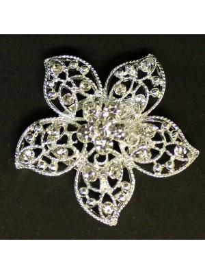 Diamante Brooch Crystal Flower