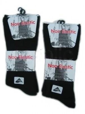 Men's Non-Elastic Lycra Cotton Rich Socks - Black