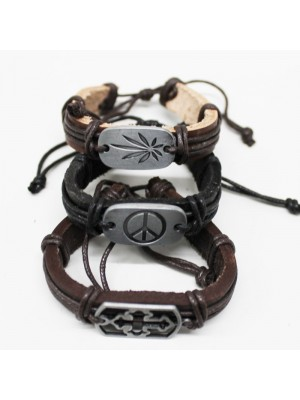 Fashion Leather Friendship Bracelet Assorted Design Black / Brown