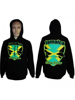 Jamaica Flag One Love Design Printed Black Hoodie