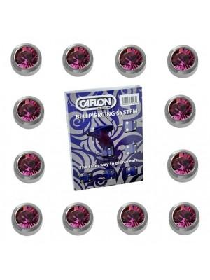 Caflon Ear Piercing Studs White Stainless February Amethyst Birthstone Regular 4mm