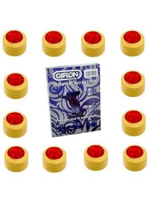 Caflon Ear Piercing Studs Gold Plated July Ruby Birthstone Mini 3mm