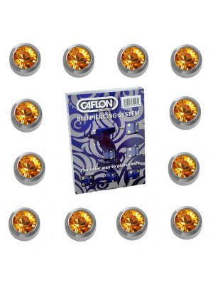 Caflon Ear Piercing Studs White Stainless November Topaz Birthstone Regular 4mm