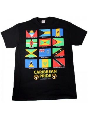 Caribbean Pride Design Black Cotton T-Shirt