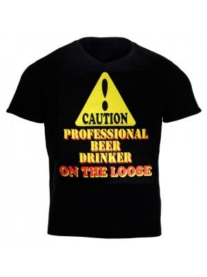 """Caution! Professional Beer Drinker...'' Design Black Cotton T-Shirt"