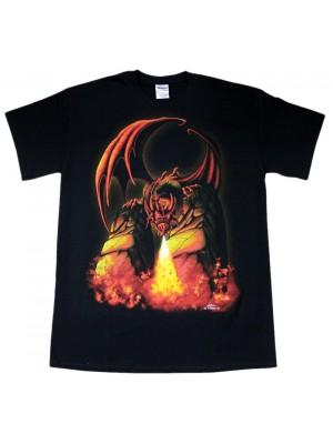 Fire Breathing Dragon Black Cotton T-Shirt