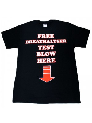 """Free Breathalyser Test Blow Here"" Design Black Cotton T-Shirt"