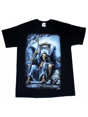 The Grim Reaper Design Black Cotton T-Shirt