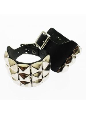 3 Row Pyramid Studded Leather Wristband