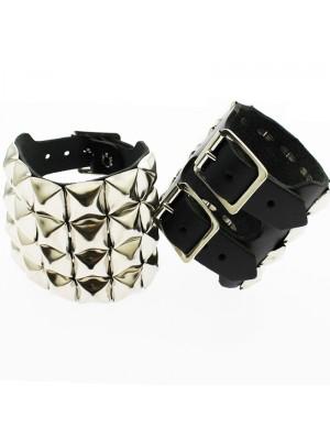 4 Row Pyramid Studded Leather Wristband