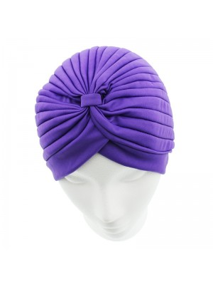 Jersey Turban Hat In Purple Colour