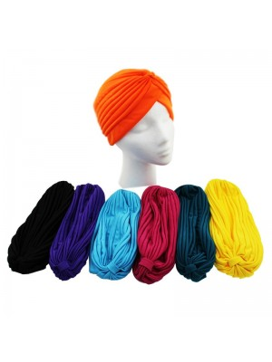 12 x Jersey Turban Hats In Assorted Colours