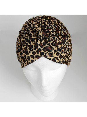 Jersey Turban Hat In Leopard Print
