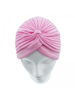 Jersey Turban Hat In Baby Pink Colour