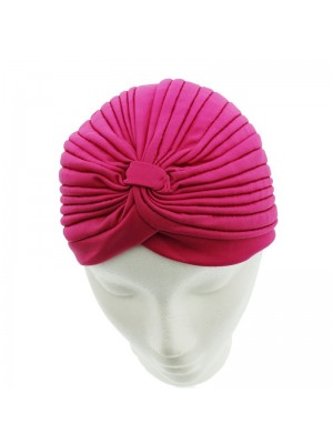 Jersey Turban Hat In Fuchsia Colour