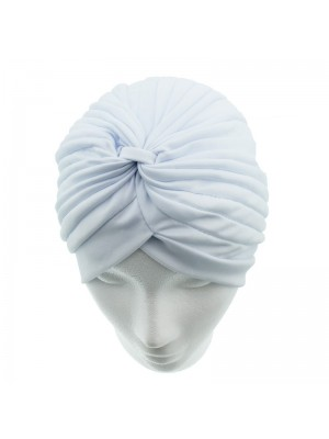 Jersey Turban Hat In White Colour