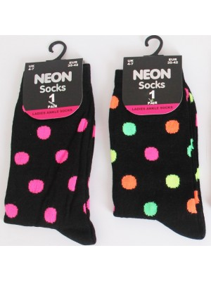Ladies Black Fluorescent Ankle Socks- Spots Pattern