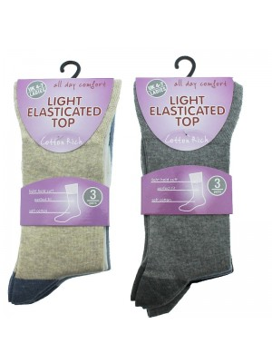 Ladies Cotton Rich Socks - Light Elasticated Top