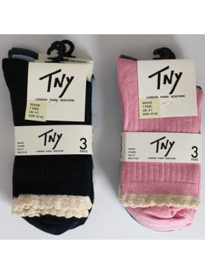 Ladies TNY Ribbed Socks Assorted Colours