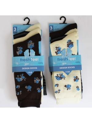 Ladies' Fresh Feel Design Socks - Flowers & Stripes Assorted Colours