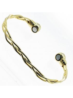 Magnetic Bangle - Gold Crisscross (Medium)