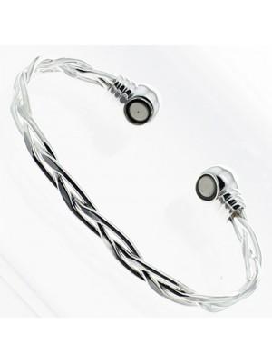 Magnetic Bangle - Silver Crisscross (Medium)